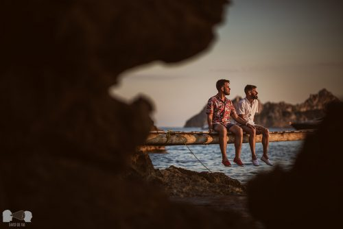 Two men and their engagement destination: Ibiza, Spain